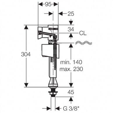 "Vandens pripildymo mechanizmas Geberit ImpulsBasic340 3/8"" 2"