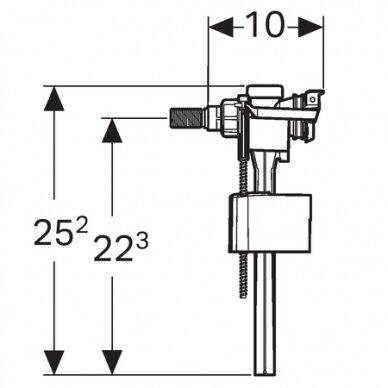 Vandens pripildymo mechanizmas Geberit Typ 333 adapteriu 3/8 1/2 2