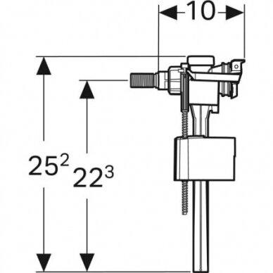 """Vandens pripildymo mechanizmas su adapteriu Geberit Type 333 3/8"""" ir 1/2"""" 3"""