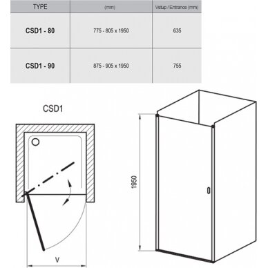 Varstomos dušo durys Ravak Chrome CSD1 80, 90 cm 3
