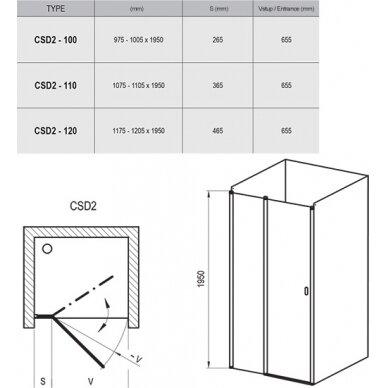 Varstomos dušo durys Ravak Chrome CSD2 100, 110, 120 cm 3