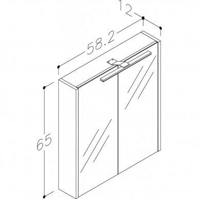 Veidrodinė spintelė Joy su Led apšvietimu 60, 75, 90, 110 cm 2