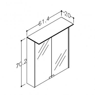 Veidrodinė spintelė Kamė su Vetro D-line LED šviestuvu ir dugno apšvietimu 3