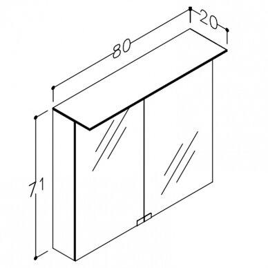 Veidrodinė spintelė Kamė su Vetro LED šviestuvu ir dugno apšvietimu 4