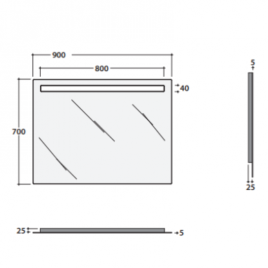 Veidrodis GLOBO 90x70 cm su apšvietimu BPS090 4