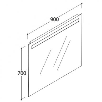 Veidrodis GLOBO 90x70 cm su apšvietimu BPS090 3