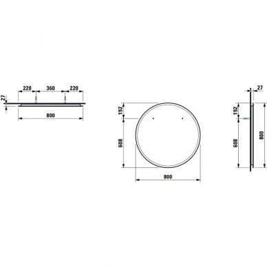 Veidrodis Laufen Frame 25 su LED apšvietimu, 80 cm 2