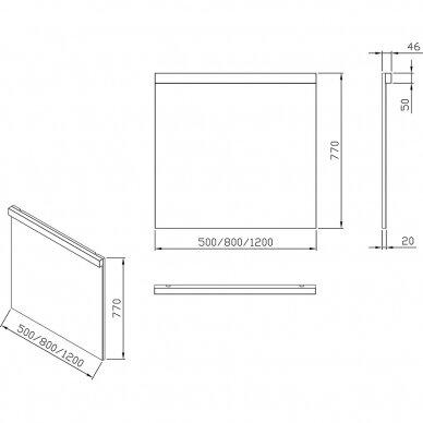 Veidrodis Ravak Natural su LED apšvietimu 50, 80, 120 cm 4