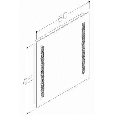 Veidrodis su integruotu apšvietimu Kame Como 60x65 cm 2