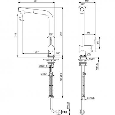 Plautuvės maišytuvas Ideal Standard Ceralook su ištraukiamu snapu 2