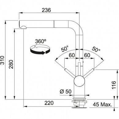 Virtuvinės plautuvės maišytuvas su ištr. žarna Franke Active-Plus ištr. žarna 9