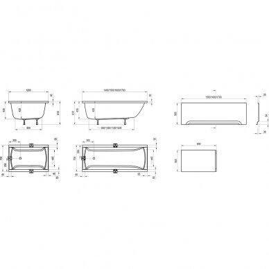Vonia Ravak Classic 120, 140, 150, 160, 170 cm 6