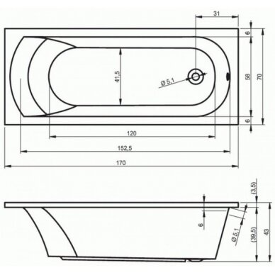 Akrilinė vonia Riho Miami 150, 160, 170, 180 cm 3