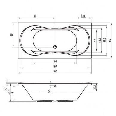 Akrilinė vonia Riho Supreme 180, 190 cm 3