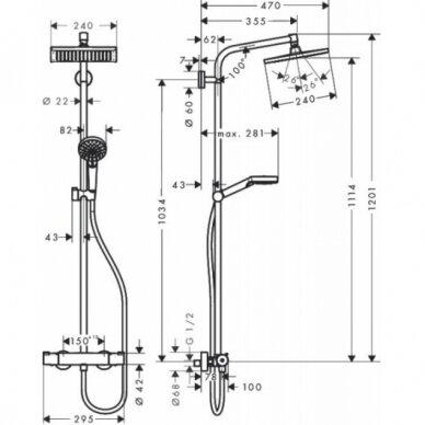 Dušo kabina Kristina 90 cm ir Hansgrohe dušo sistema 6