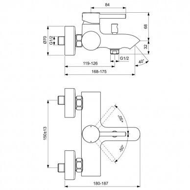 Vonios maišytuvas Ideal Standard Ceraline 3