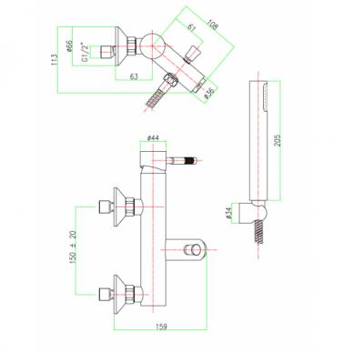 Vonios maišytuvas su dušo komplektu Fiore Xenon 3
