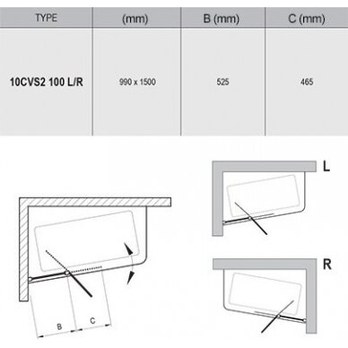 Vonios sienelė Ravak 10CVS2 100 cm 2