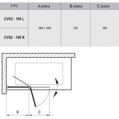 Vonios sienelė Ravak CVS2 100 cm 5