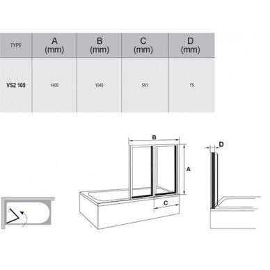 Sulenkiama vonios sienelė Ravak VS2, 105 cm 2