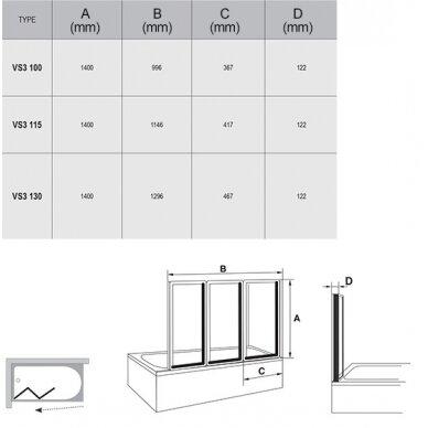 Vonios sienelė Ravak VS3 100, 115, 130 cm 4