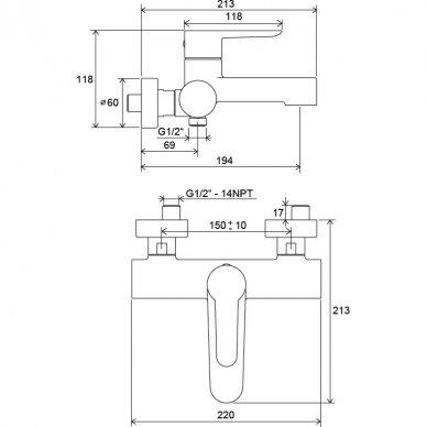 Vonios vandens maišytuvas Ravak Puri 150 mm 5