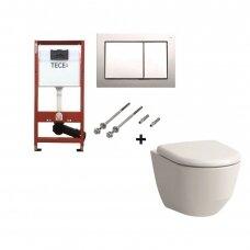 WC kompletkas Laufen Pro unitazas ir Tece rėmas su chromuotu mygtuku