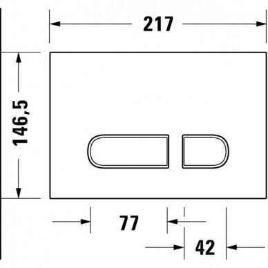 Wc komplektas Duravit ME by Starck unitazas ir DuraSystem rėmas su chromuotu mygtuku 8