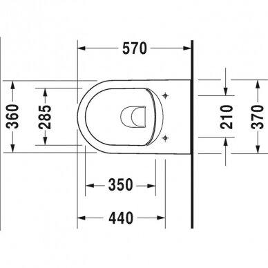 Wc komplektas Duravit ME by Starck unitazas ir DuraSystem rėmas su chromuotu mygtuku 9