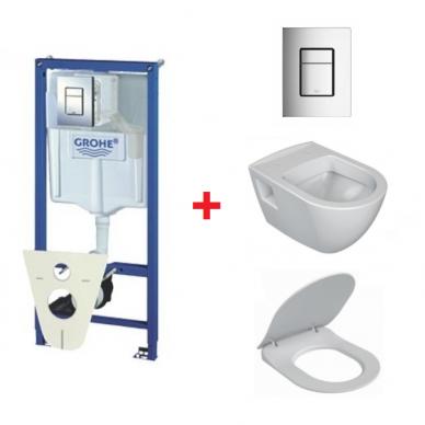 WC komplektas Ravak Endo unitazas ir Grohe WC rėmas Rapid SL 5in1