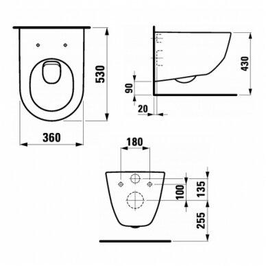 WC komplektas Laufen Pro unitazas ir Tece rėmas su chromuotu mygtuku 4