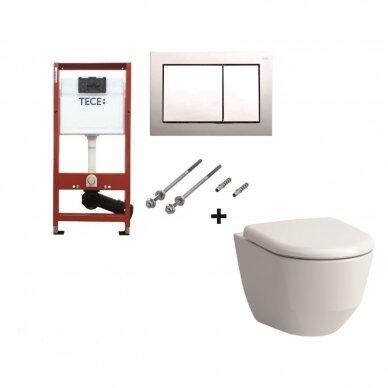 WC komplektas Laufen Pro unitazas ir Tece rėmas su chromuotu mygtuku