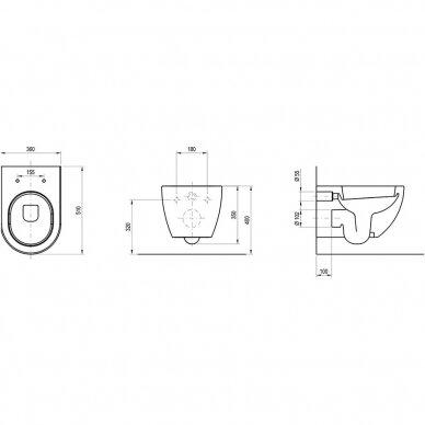 WC komplektas Ravak unitazas ir Tece rėmas su chromuotu mygtuku 6