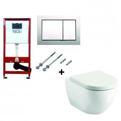 WC komplektas Ravak unitazas ir Tece rėmas su chromuotu mygtuku