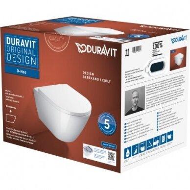 WC pakabinamas Duravit D-Neo rimless su soft close dangčiu 2