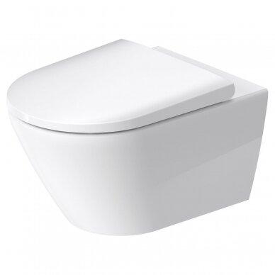 WC pakabinamas Duravit D-Neo rimless su soft close dangčiu