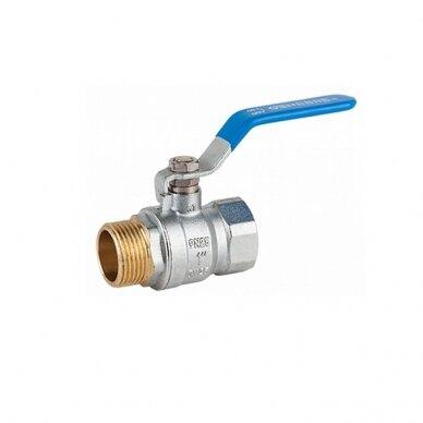"""Žalvarinis ventilis ½"""" vidinis/išorinis sriegis"""