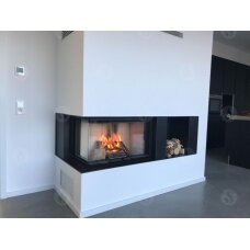 Židinio ugniakuras kampinis HL3LG01 65.51.40.01 vientisu kairės pusės pakel.stiklu 51 cm ir atv. durimis, 69 m², malkinis, 11 kW