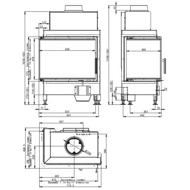 Židinio ugniakuras kampinis HL2SG21 65... su dviejų dalių kairės pusės atv. Stiklu, 9 kW, malkinis 3
