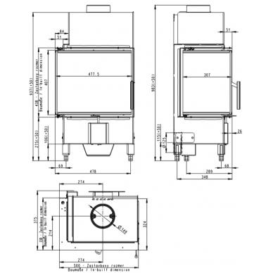 Židinio ugniakuras kampinis HL2SV23 50... su dviejų dalių kairės pusės atv. Stiklu, 5,9 kw, malkinis 3