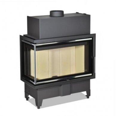Židinio ugniakuras kampinis HL2SX23 70.. dviejų dalių kairės pusės stiklu 44 cm ir atv. durimis, malkinis, 100 m², 10 kW