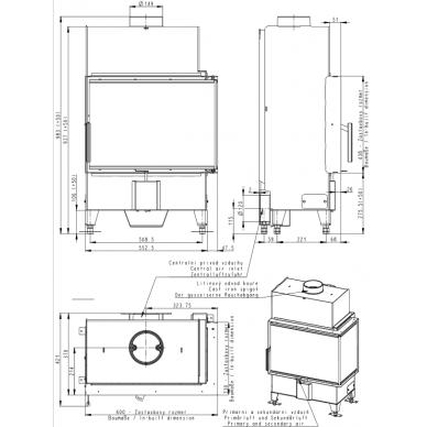 Židinio ugniakuras kampinis HL2SY13 60... vientisu kairės pusės stiklu 44 cm ir atv. durimis, 55 m², 8 kW, malkinis 2