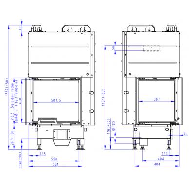 Židinio ugniakuras kampinis HL3LE21 50... kairinis, atskirtais stiklais, malkinis, 8,4 kW 3