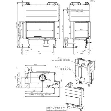 Židinio ugniakuras kampinis HL3LF01 81... vientisu kairės pusės pakel. stiklu  51 cm ir atv. durimis, 15,6 kW, 120 m2, malkinis 3