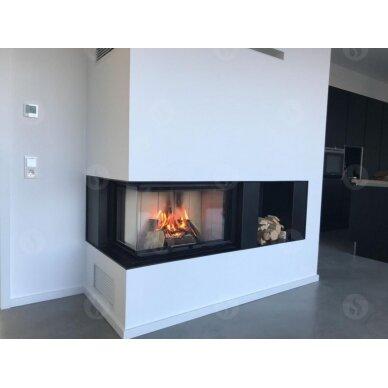 Židinio ugniakuras kampinis HL3LG01 65... vientisu kairės pusės pakel.stiklu 51 cm ir atv. durimis, 69 m², malkinis, 11 kW