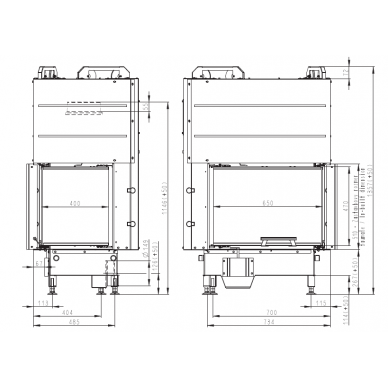 Židinio ugniakuras kampinis HL3LG01 65... vientisu kairės pusės pakel.stiklu 51 cm ir atv. durimis, 69 m², malkinis, 11 kW 3