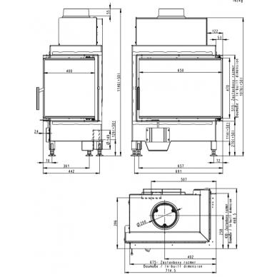 Židinio ugniakuras kampinis HR2SG01 65... su vientisu dešinės pusės atv. Stiklu, 9 kW, malkinis 3