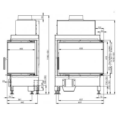 Židinio ugniakuras kampinis HR2SG21 65.. dviejų dalių dešinės pusės stiklu 51cm ir atv. Durimis, 9 kW, malkinis 3