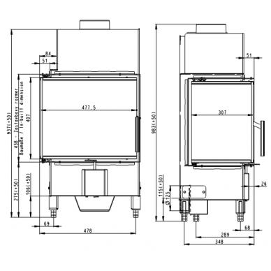 Židinio ugniakuras kampinis HR2SV23 50... dviejų dalių dešinės pusės stiklu  44 cm ir atv. durimis, 5,9 kW, malkinis 3