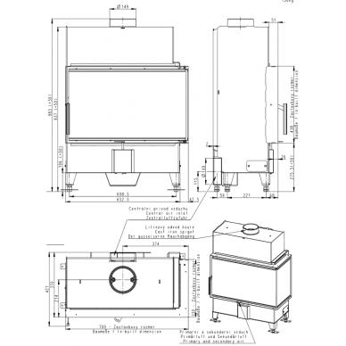 Židinio ugniakuras kampinis HR2SX13 70.. vientisu dešinės pusės stiklu 44 cm ir atv. Durimis, 100 m2, 10 kW, malkinis 2
